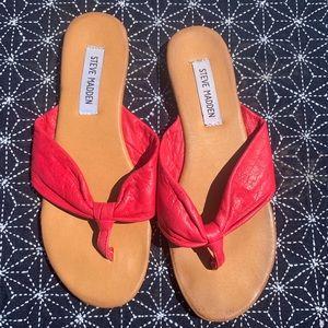 Steve Madden pink leather flip flop sandal 7.5
